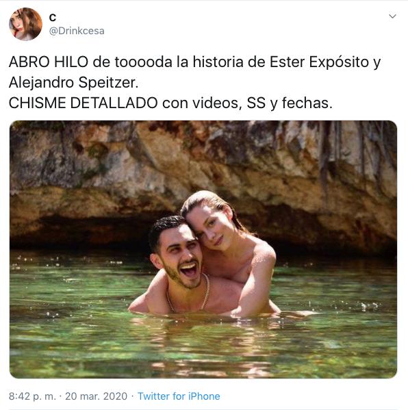 Ester Expósito Alejandro Speitzer confirman relación