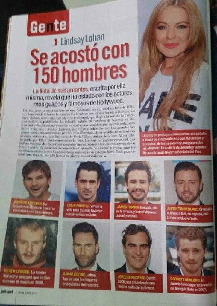 Lista Lindsay Lohan sexo famosos Adam Levine Joaquin Phoenix Heath Ledger Justin Timberlake