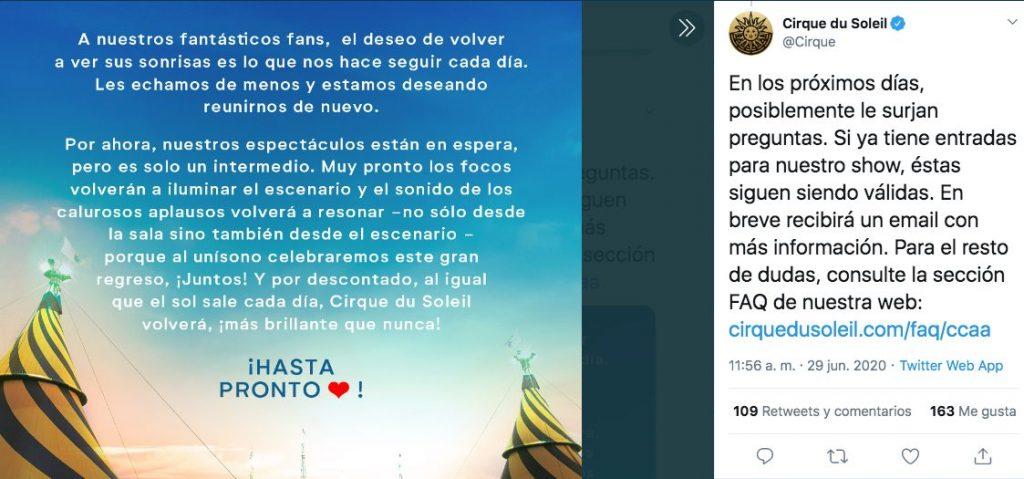 Cirque du Soleil bancarrota despide empleados
