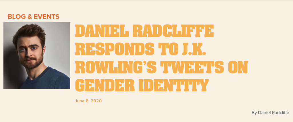 Daniel Radcliffe actor Harry Potter identidad género jk Rowling