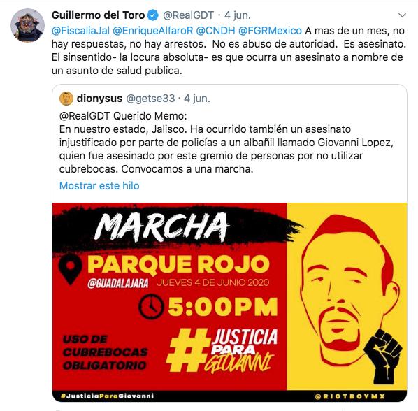 Guillermo del Toro justicia asesinato Giovanni López policía cubrebocas