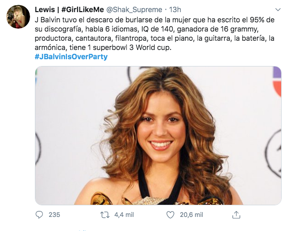 J Balvin ríe Shakira