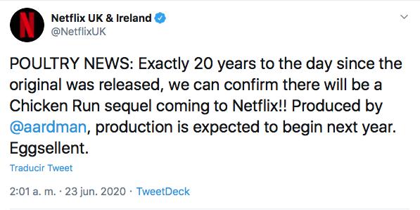 Netflix confirma segunda parte Pollitos en Fuga Chicken Run 2