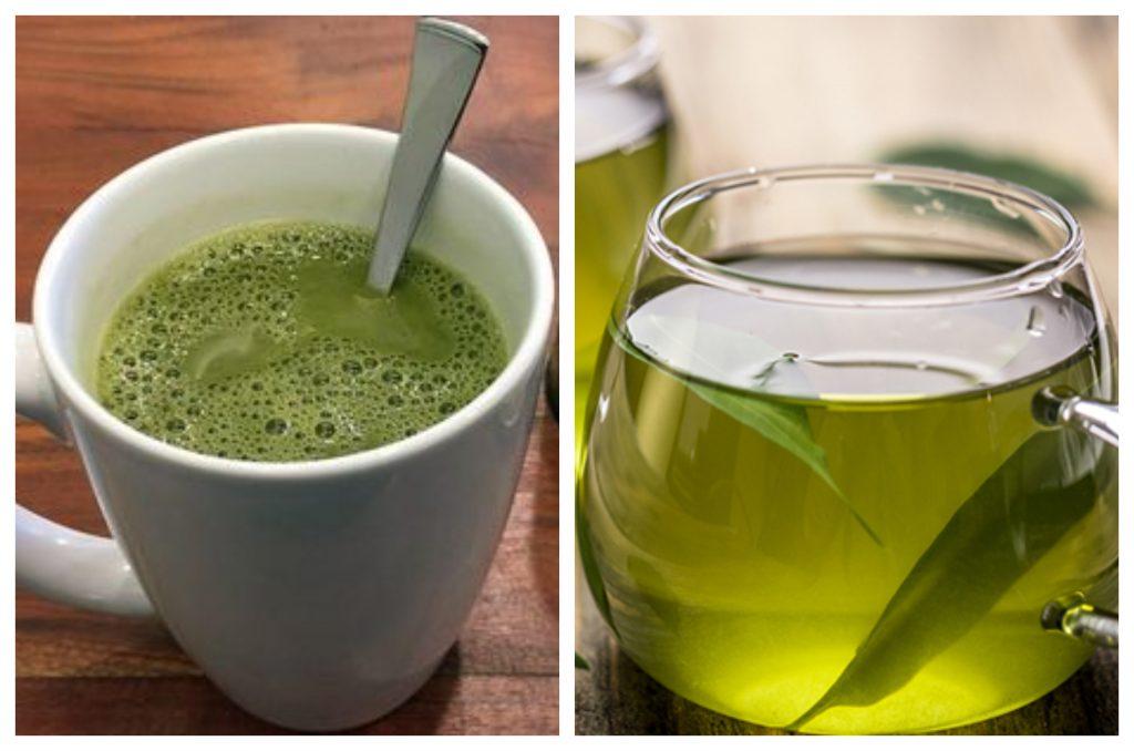 el matcha es espumoso y el té verde líquido y cristalino