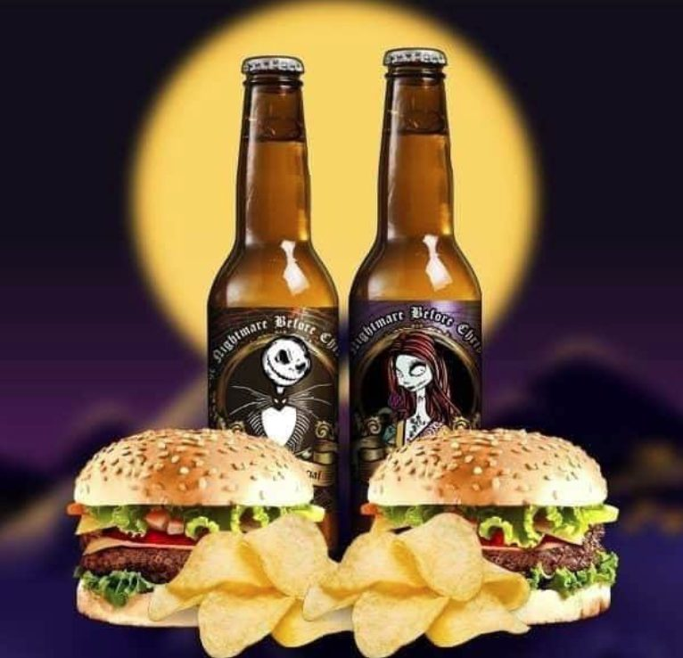 Cervezas estilo Tim burton Jack y Sally