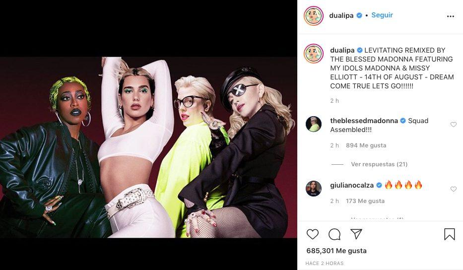 Dua Lipa Madonna Missy Elliott remix Levitating colaboración