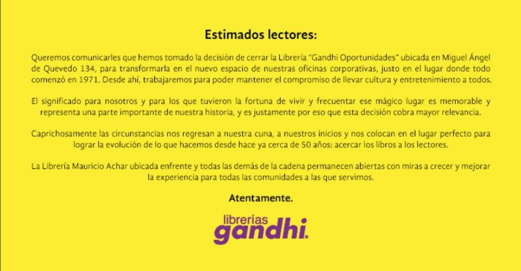 librería Gandhi Miguel Ángel de Quevedo