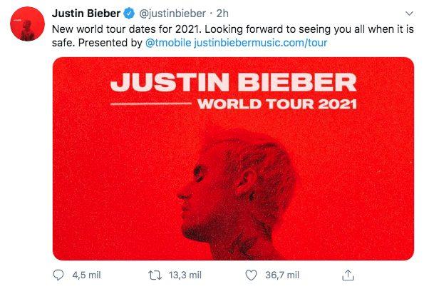 Justin Bieber nuevas fechas gira mundial 2021