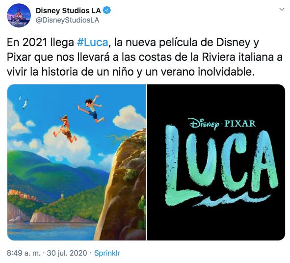 Disney y Pixar nueva película Luca