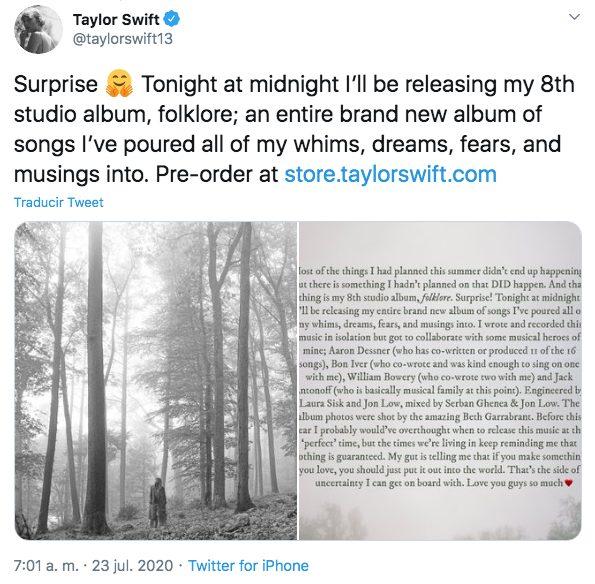 Taylor Swift nuevo disco folklore lanzamiento