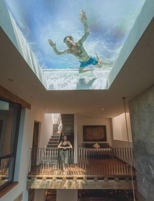 casa alberca techo cristal airbnb