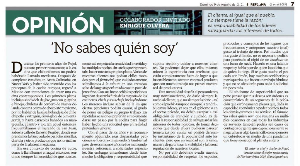 columna completa Enrique Olvera Pujol clasista