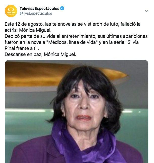 muere Mónica Miguel actriz Televisa