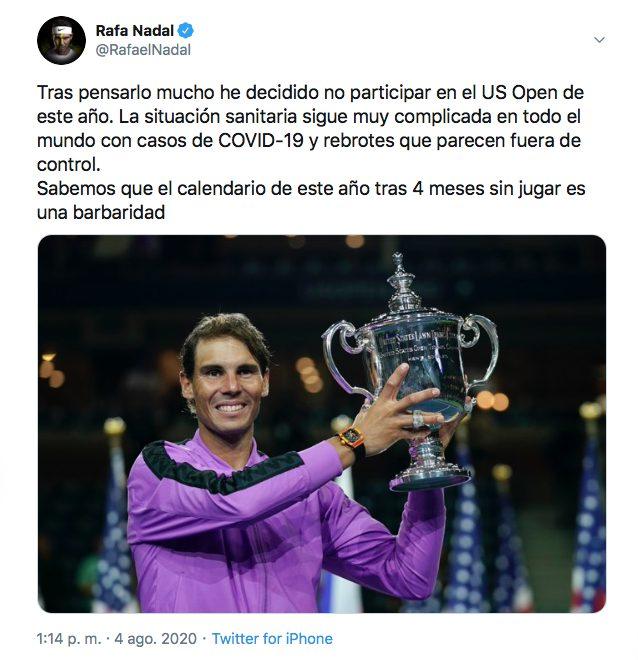 Rafael Nadal no participará US Open torneo abierto