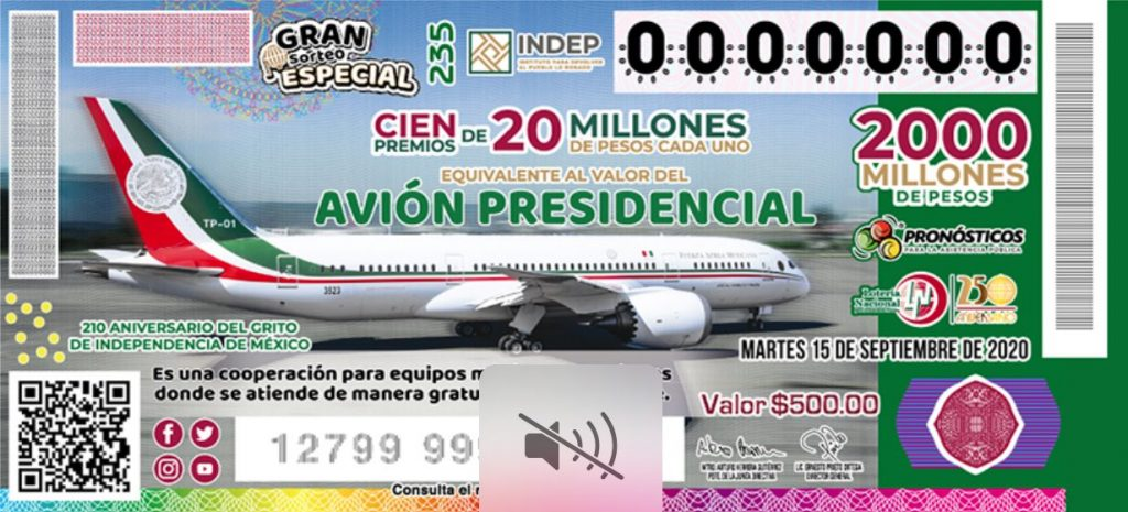 rifa avión presidencial sector salud