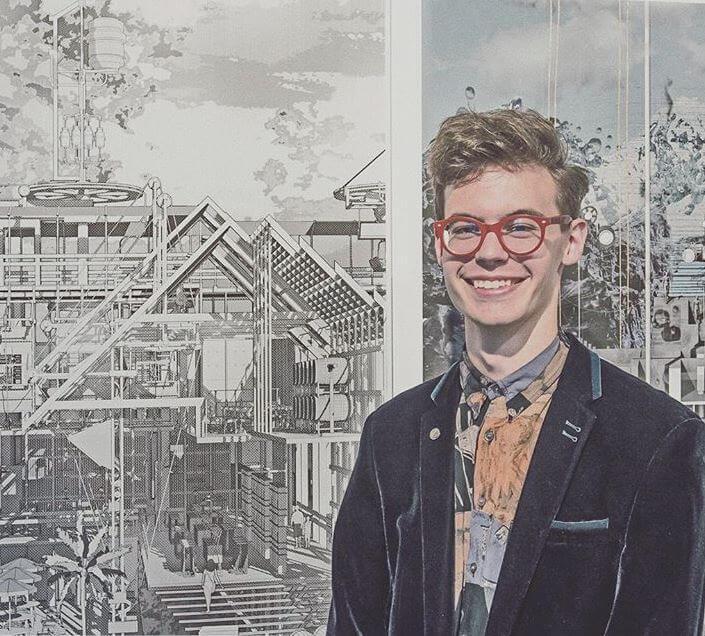 James Cook es un joven de 23 años que hace dibujos con máquinas de escribir