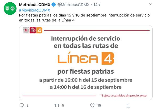 Estaciones Metrobús cerradas