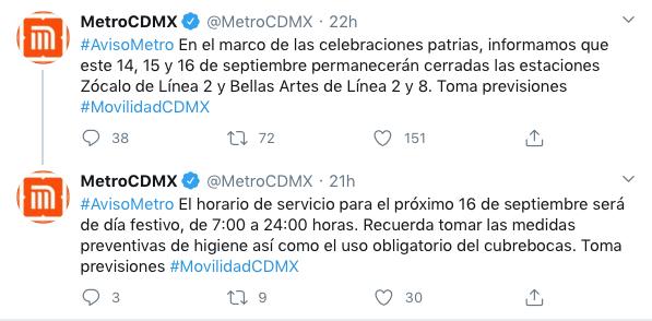 estaciones metro cerradas 16 septiembre