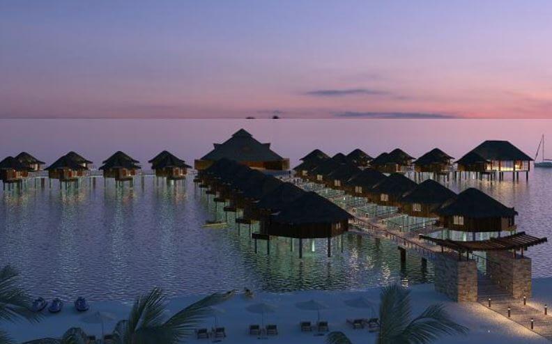 Las cabañas sobre el mar de la Riviera Maya