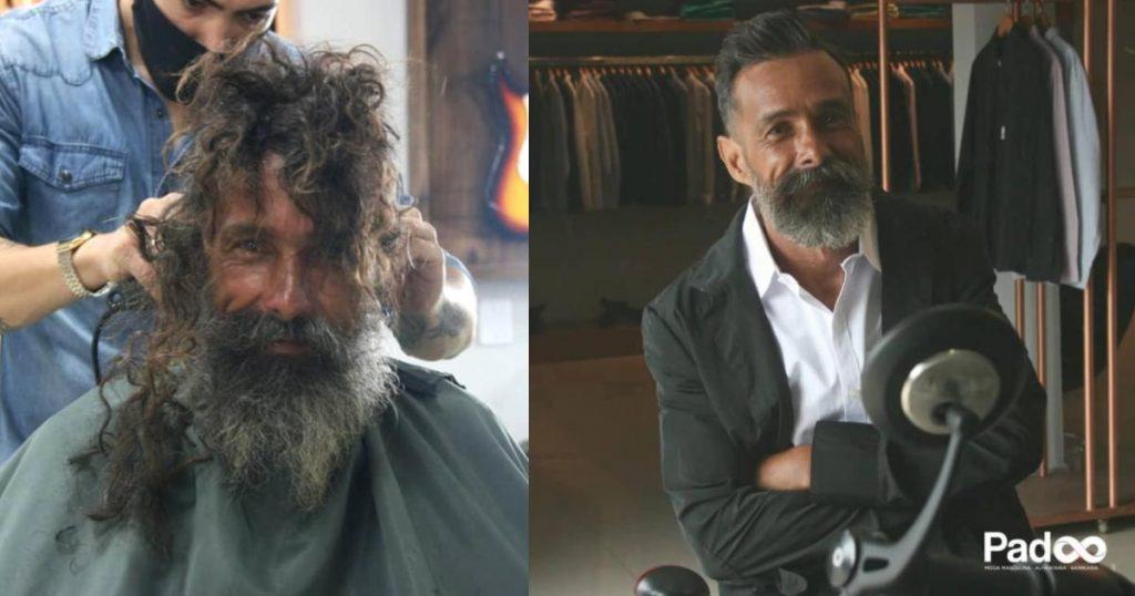 Hombre-sin-hogar-cambio-de-look-peluquero-Antes-y.despues