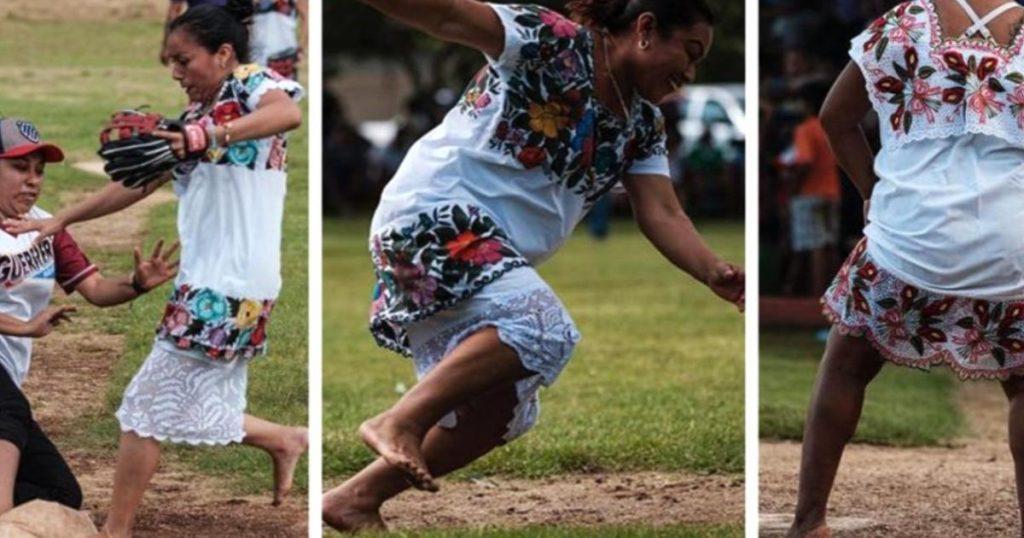 Descalzas-y-en-huipiles-Sotfbol-femenil-Diablillas-de-Hondzonot-5